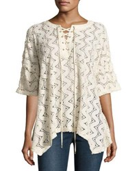 Moon River Lace Up Knit Top Neutral