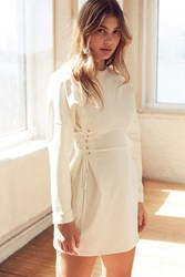 Silence And Noise Lace Up Corset Side Tee Dress Ivory