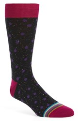 Bugatchi Men's 'Donegal' Polka Dot Socks Black Purple Dot