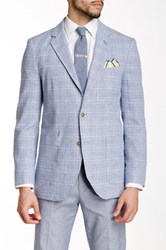 Tailorbyrd Blue Glenplaid Two Button Notch Lapel Linen Blend Jacket
