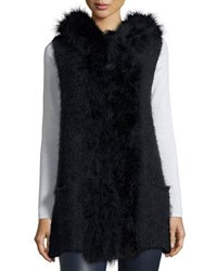 Neiman Marcus Hooded Knit Feather Trim Vest Blue