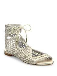 Joie Fannie Woven Metallic Leather Lace Up Sandals White Gold