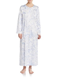 Oscar De La Renta Sleepwear Brushed Back Satin Long Gown Ivory Blue Floral