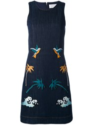 Victoria Beckham Multi Patch Dress Women Cotton Polyester Lyocell 12 Blue