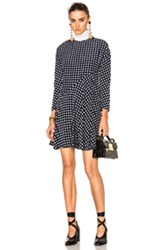 Marni Crepe Silk Squares Long Sleeve Dress In Blue Checkered And Plaid Blue Checkered And Plaid