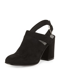 Stack Suede Slingback Bootie Black Eileen Fisher