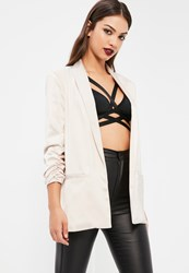 Missguided White Gathered Sleeve Satin Longline Blazer Ivory