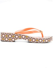 Tory Burch Carved Wedge Flip Flops Yellow And Orange