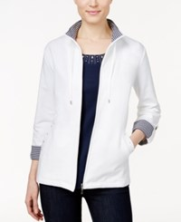 Karen Scott Striped Trim Lounge Jacket Only At Macy's Bright White
