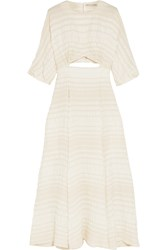 Emilia Wickstead Gloria Cutout Seersucker Dress Off White