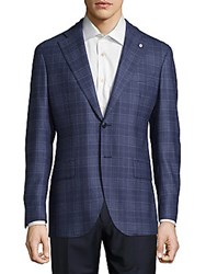 Lubiam Plaid Wool Sportcoat Turquoise