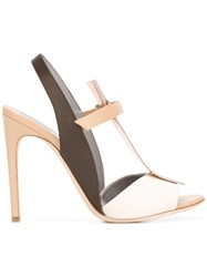 Pollini Colour Block Sandals Nude Neutrals