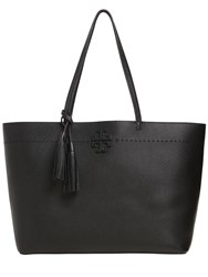 Tory Burch Mcgraw Leather Tote Bag Black Blue