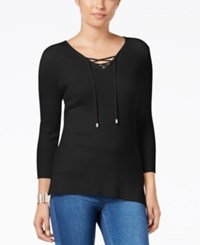 Thalia Sodi High Low Lace Up Sweater Only At Macy's Deep Black