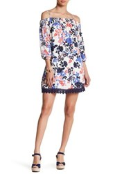 Trixxi Printed Crepe Floral Cold Shoulder Dress White