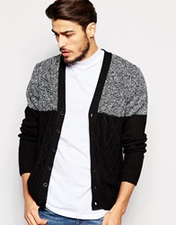 Asos Cable Knit Cardigan With Colour Block Black