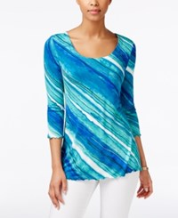Miraclesuit Striped Three Quarter Sleeve Top Turquoise