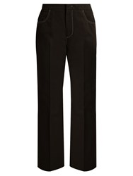 N 21 High Rise Straight Leg Cotton Blend Trousers Black