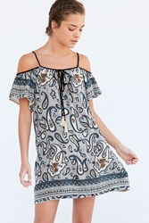 Ecote Scarf Print Cold Shoulder Mini Dress Blue Multi