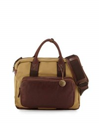 Will Leather Goods Lewis Canvas And Briefcase Brown