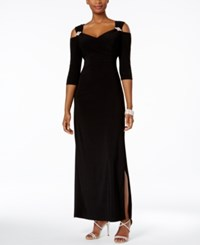 R And M Richards Cold Shoulder Gown Black