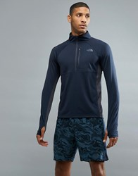 The North Face Mountain Athletics Impulse 1 4 Zip Top In Navy Urban Navy Heather