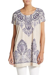 Saks Fifth Avenue Blue Paisley Printed Jersey Tunic Tan Navy