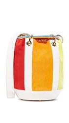 Edie Parker Small Olivia Bucket Bag Rainbow Natural