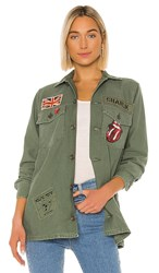 Madeworn Rolling Stones Sequin Jacket In Olive. Army