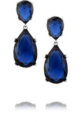 Kenneth Jay Lane Rhodium Plated Crystal Earrings Blue