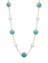 Rivka Friedman 18K Gold Clad 7Mm Baroque Freshwater Pearl Turquoise And 18K Gold Station Necklace No Color