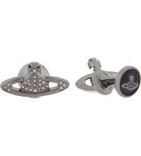 Vivienne Westwood Mini Bas Relief Cufflinks Black Diamond Gunmetal