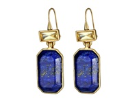 Lauren Ralph Lauren Camino Real Large Rectangular Stone And Hammered Metal Drop Earrings Worn Gold Blue Yellow Earring