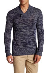 Quinn Marl Knit Shawl Collar Pullover Blue