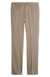 Monte Rosso Flat Front Stretch Linen And Cotton Trousers Brown