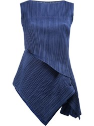 Issey Miyake Pleats Please By Asymmetric Pleated Tank Blue