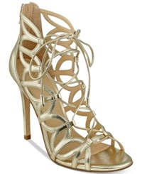Ivanka Trump Hela Strappy Lace Up Sandals Women's Shoes Gold