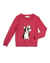 Milly Minis Bulldog Crewneck Pullover Sweater Raspberry 8 14