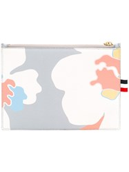 Thom Browne Floral Wallet Women Leather One Size Grey