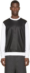 Giuliano Fujiwara Black And White Faux Leather Pullover