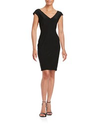 Betsy And Adam V Neck Sheath Dress Black