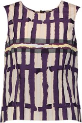 Marni Printed Cotton Crepe Top Plum