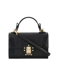 Dolce And Gabbana Lucia Shoulder Bag Calf Leather Black