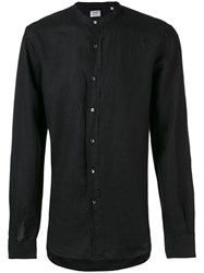 Aspesi Band Collar Shirt Men Linen Flax 39 Black
