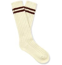 The Elder Statesman Yosemite Ribbed Striped Cashmere Socks Off White
