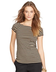 Lauren Ralph Lauren Petite Metallic Striped Ballet Neck Shirt Black Gold