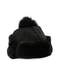 Ugg Shearling And Leather Trapper Hat Black