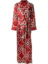For Restless Sleepers Printed Silk Dressing Gown Red