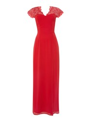 Elise Ryan Cap Sleeved Lace Shoulder Maxi Dress Red
