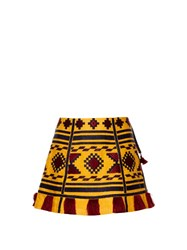 Vita Kin Croatia Embroidered Mini Skirt Yellow Multi